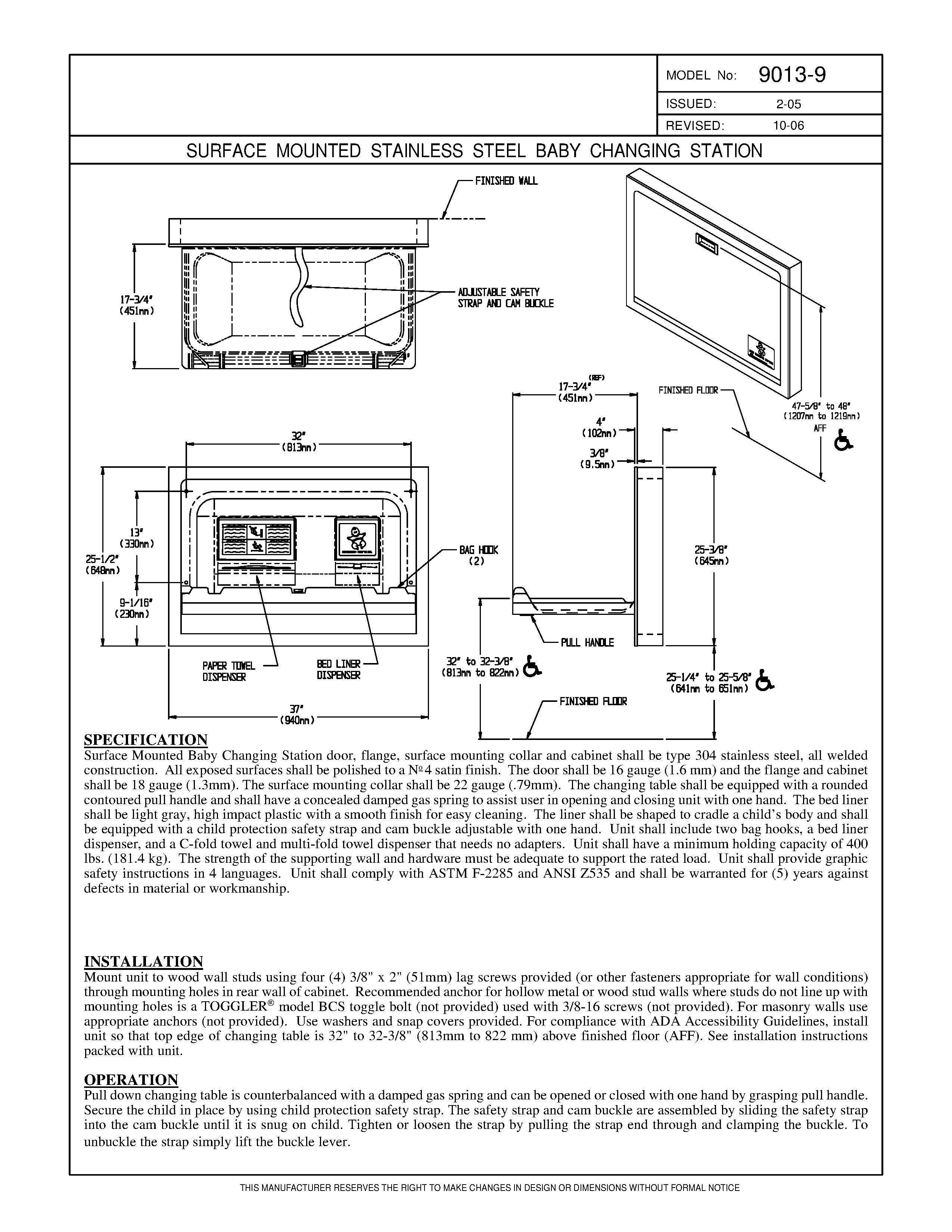 Asi 9013 9 Baby Changing Station Surface Mounted