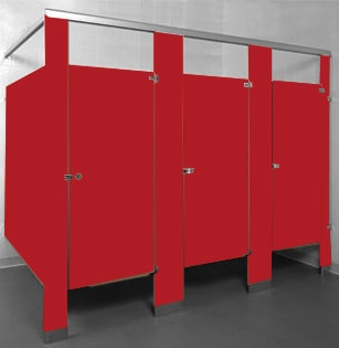 Powder coated steel bathroom stalls